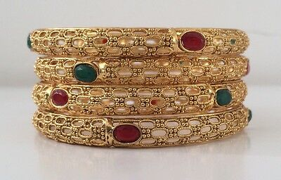 Bollywood Style/ Indian Jewellery/ Party wear/ 4 bangles/ gold, red, green