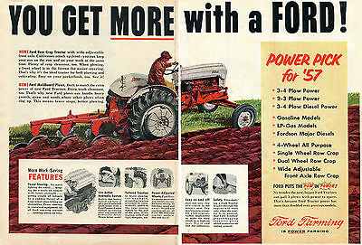1957 Ford Row Crop 2 Page Farm Tractor Print Ad
