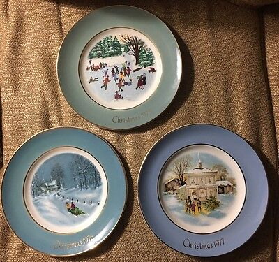 Collectors Avon Christmas Plates 1975,1976,1977 By Enoch Wedgwood
