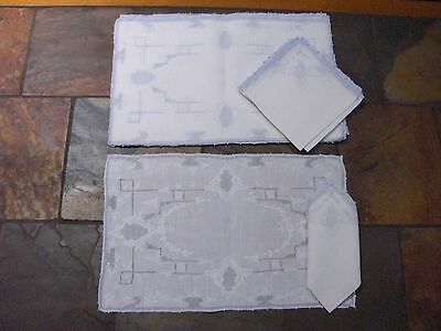 Stunning Vintage Appenzell White Blue Embroidered 8 placemats and napkins B 64