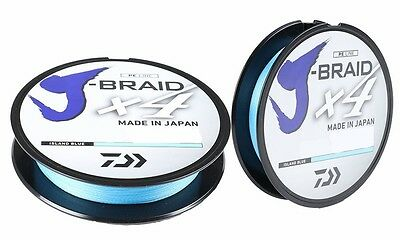 DAIWA J-BRAID X4 BRAIDED LINE 300 YARDS ISLAND BLUE select lb tests