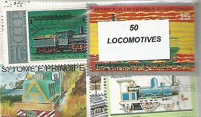 """Lotde 50  timbres thematique """" Locomotives"""""""
