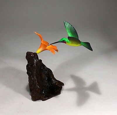 HUMMINGBIRD Sculpture New direct from JOHN PERRY 7in tall Statue Orange flower