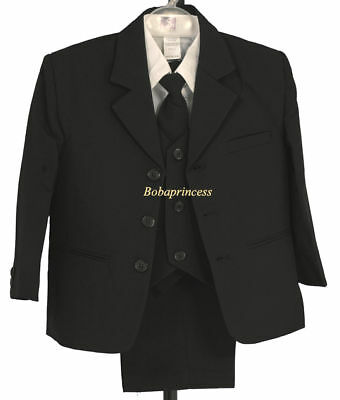 NEW FORMAL BOY 5 PCS SUIT SET BLACK Sz 8/10/12/14,Wedding/Graduation/Recital