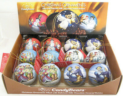 Set of 12 Russ Candy Bears ORNAMENTS ONLY Fillable Tins Christmas Balls Gifts
