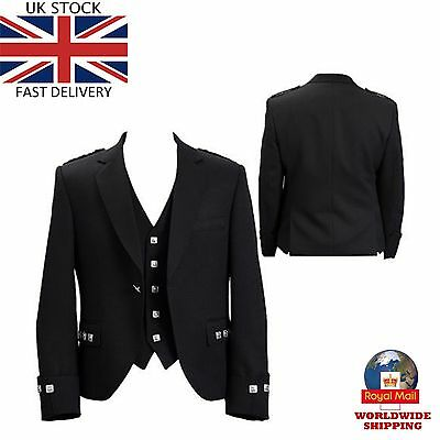 UK Stock New Handmade Scottish Argyle kilt Jacket & Waistcoat Wedding Dress