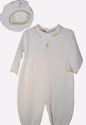 New Gift Baptism Christening Gown Baby Boy Cross Cotton Knit White Outfit Set