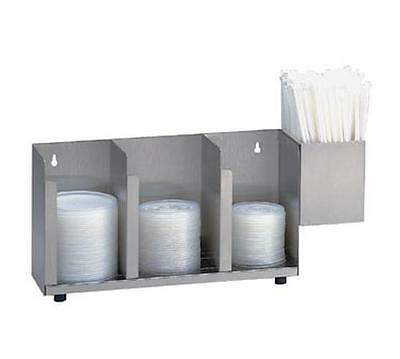 Dispense-Rite 3 Section SS Cup and Lid Organizer w/ SH-1 Straw Attachment