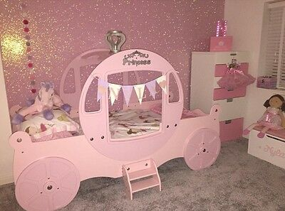 Girls Princess Carriage Wooden Single Luxury Bed Including New Mattress