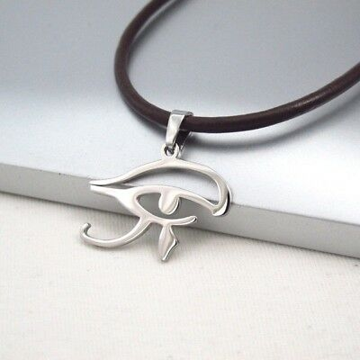 Silver Egypt Eye Of Horus Egyptian Pendant Dark Brown Leather Ethnic Necklace