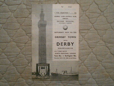 Grimsby Town V Derby Second Division Match Programme November 1958