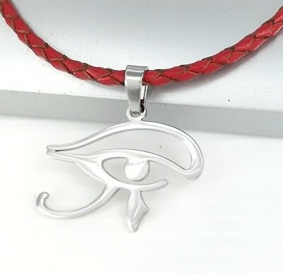 Silver Egypt Eye Of Horus Egyptian Pendant Braided Red Leather Ethnic Necklace