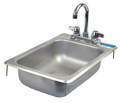 "BK Resources Drop In Stainless Steel Hand Sink 10"" x 14"" x 5"" w/ Drain"