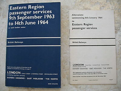 British Railways Eastern Region Passenger Timetable Sep 1963 includes Map Alts