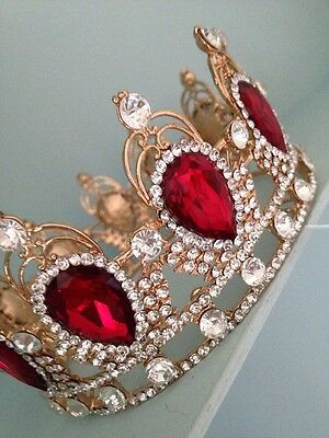 Pageant Crown . Silver And Red Crown . Wedding Crown . Photo Shoot Prop