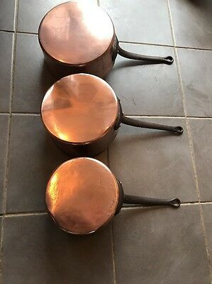 3x Large Antique French Copper Tin Lined Saucepans 8kg