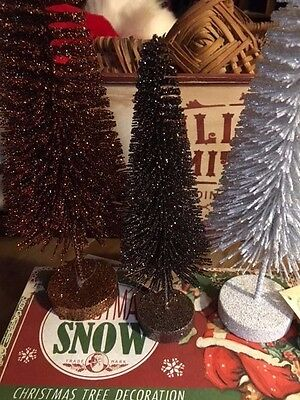 "Ino Schaller Bayern Germany Christmas Taupe Glitter Bottle Brush Tree 8.5"" NWT"