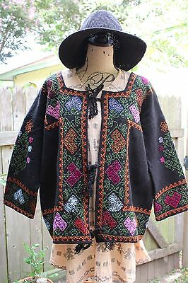 Handmade Puebla Mexican Embroidered Tomicoton Huipil Jacket