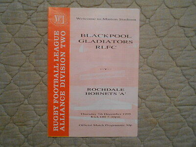 Blackpool Gladiators V Rochdale 'a' Alliance Division 2 Match Programme 1995
