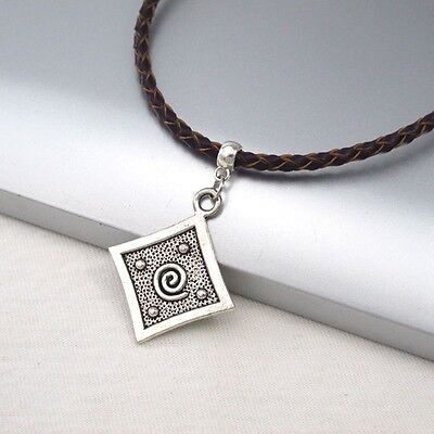 Silver Alloy Square Spiral Symbol Pendant Braided Brown Leather Ethnic Necklace