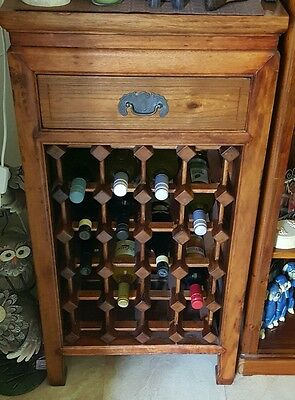 Solid Timber Wine Rack with Single Drawer
