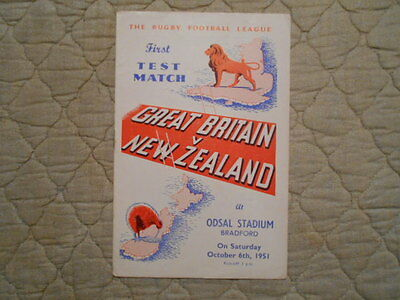 Great Britain V New Zealand Rugby League 1St Test Match Programme 1951