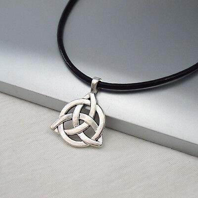 Silver Alloy Celtic Symbol Pendant 3mm Black Leather Cord Ethnic Tribal Necklace