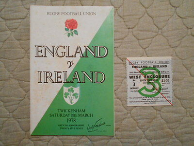 England V Ireland Rugby Union Match Programme With Ticket 1978