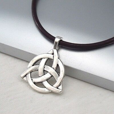Silver Alloy Celtic Symbol Pendant 3mm Dark Brown Leather Ethnic Tribal Necklace