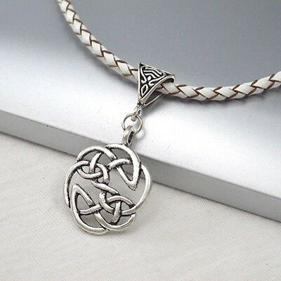 Silver Alloy Round Celtic Symbol Pendant Braided White Leather Ethnic Necklace