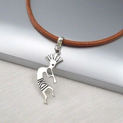 Silver Alloy Kokopelli Music Pendant Brown Leather Cord Ethnic Tribal Necklace
