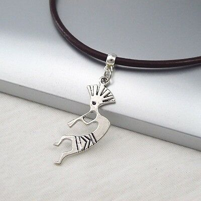 Silver Alloy Kokopelli Music Pendant Dark Brown Leather Ethnic Tribal Necklace