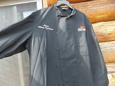 Red Lobster Black Chefs Coat Culinary Professional Kitchen Cook Jacket  Large