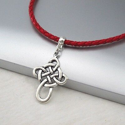 Silver Alloy Celtic Symbol Cross Pendant 3mm Braided Red Leather Ethnic Necklace