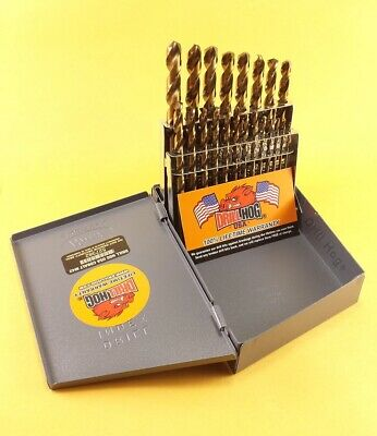 Drill Hog USA 21 Pc Jr Drill Bit Set Index COBALT M42 HSSCO Lifetime Warranty