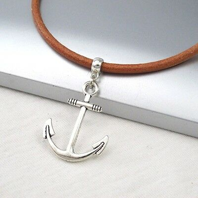 Silver Alloy Anchor Symbol Pendant 3mm Light Brown Leather Cord Surfer Necklace