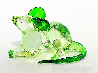 Figurine Animal Hand Blown Glass Green Rat Mouse Mice - GTRT004