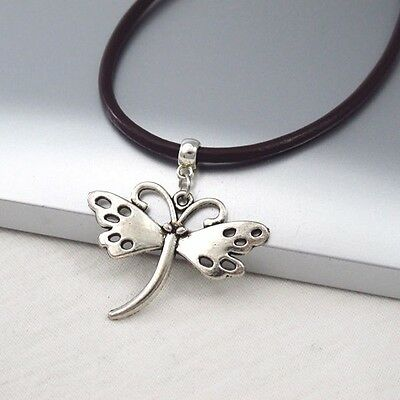 Silver Alloy Butterfly Charm Symbol Pendant Dark Brown Leather Cord Necklace NEW