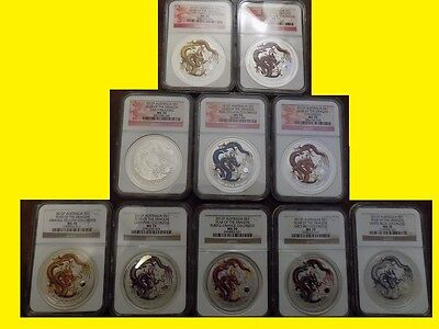 2012 Colorized Silver Dragon 10 Coins Complete Set Ngc Ms 70 Box Coa