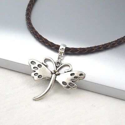 Silver Alloy Butterfly Charm Symbol Pendant Braided Brown Leather Cord Necklace