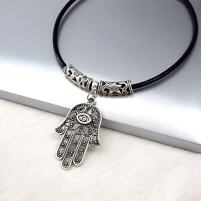 Silver Alloy Hand Eye Symbol Pendant Black Leather Cord Tribal Ethnic Necklace