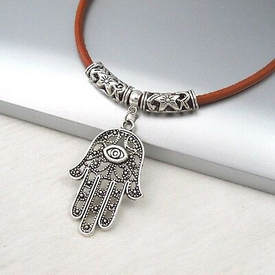 Silver Alloy Hand Eye Symbol Pendant Brown Leather Cord Tribal Ethnic Necklace