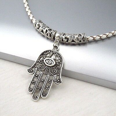 Silver Alloy Hand Eye Symbol Pendant Braided White Leather Cord Ethnic Necklace