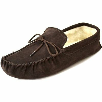 Gents Genuine Suede Moccasin Sheepskin Slipper Soft Sole  Brown Sizes 4 To 15