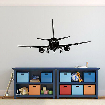 KID AIRPLANE REMOVABLE Wall Sticker Jet Helicopter Inspired Vinyl ...