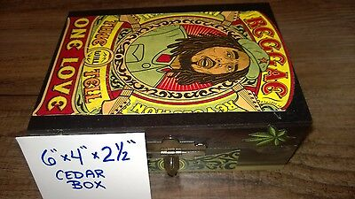 1 of a Kind-Custom Art Cedar Box (Med. 6x4x2.5) REGGAE Bob Marley Weed Box