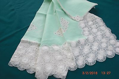 Wonderful Hand Embroidered Tenerife Tablecloth + 6 Napkins Linen New B71