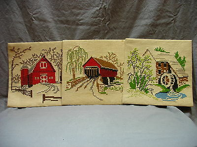 VTG Cross Stitch Completed  Barn Covered Bridge Water Mill Country Home Decor