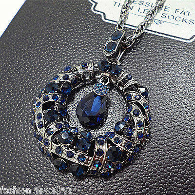 Fashion Women Crystal National Ethnic Retro Long Pendant Sweater Chain Necklace
