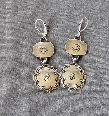 Vintage Native American Silver Stamped Drop Dangle Pierced Concho Earrings